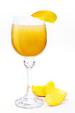 Bellini coctail. With peach. Hand made clipping path included Royalty Free Stock Photos