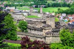 Bellinzona city center with two castles, Switzerland royalty free stock image