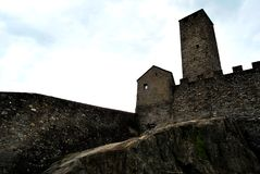 Bellinzona. Lake Maggiore Lombardia lake city summer country castle walls sky Royalty Free Stock Images
