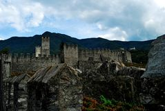 Bellinzona. Lake Maggiore Lombardia lake city summer country castle walls sky panorama Royalty Free Stock Images