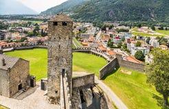 Bellinzona-Schlösser switzerland lizenzfreie stockfotos