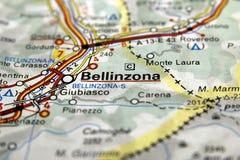 Bellinzona sulla mappa, Svizzera Fotografie Stock Libere da Diritti