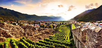 Bellinzona, Switzerland. Bellinzona beautiful panoramic at sunset, Switzerland stock photo