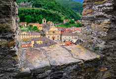 Bellinzona, Switzerland, view through the castle walls to the ol Royalty Free Stock Images
