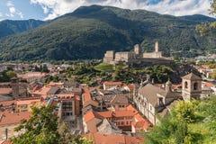 Bellinzona town with Castelgrande castle in Switzerland. Aerial view of Bellinzona town with Castelgrande castle in Switzerland Royalty Free Stock Photos