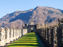 Bellinzona, walled of Castelgrande Royalty Free Stock Images