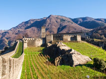 Bellinzona, walled of Castelgrande Stock Photo