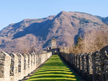 Bellinzona, walled of Castelgrande Stock Photography