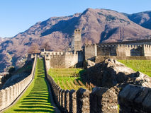 Bellinzona, walled of Castelgrande Stock Image