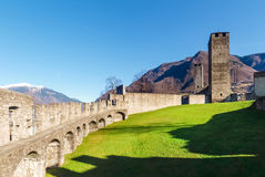 Bellinzona, walled of Castelgrande Royalty Free Stock Photos