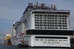 Bellissima-Kreuzfahrtschiff in Southampton an Aufgabetag stockbild