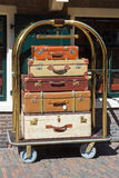 Bellman's luggage cart. With suitcases Stock Photography