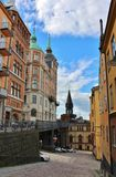 Bellmansgatan and Mariahissen at Södermalm in Stockholm. Mariahissen at the foot of Mariaberget erected in 1885 and designed by architect Gustaf Dahl. He Royalty Free Stock Photo