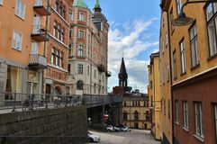 Bellmansgatan and Mariahissen at Södermalm in Stockholm. Mariahissen at the foot of Mariaberget erected in 1885 and designed by architect Gustaf Dahl. He gave Royalty Free Stock Image