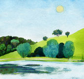 Bello acquerello del parco pubblico con il chiaro lago nella luce del giorno Fotografia Stock Libera da Diritti