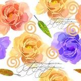 Bello acquerello variopinto Rose Floral Seamless Pattern Background Illustrazione elegante con i fiori rosa e gialli Fotografia Stock