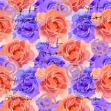 Bello acquerello variopinto Rose Floral Seamless Pattern Background Illustrazione elegante con i fiori rosa e gialli illustrazione vettoriale