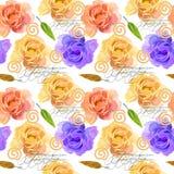 Bello acquerello variopinto Rose Floral Seamless Pattern Background Illustrazione elegante con i fiori rosa e gialli illustrazione di stock