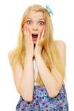 Bello adolescente biondo sorpreso immagini stock