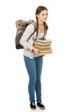 Bello adolescente con lo zaino ed i libri Fotografie Stock