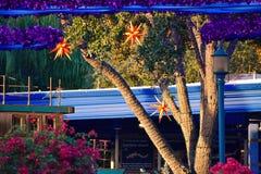 Bello albero con gli ornamenti di Natale su fondo variopinto nell'area internazionale dell'azionamento fotografia stock libera da diritti