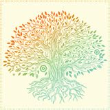 Bello albero della vita disegnato a mano d'annata illustrazione di stock