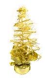 Bello albero di Natale dorato isolato su bianco Fotografia Stock Libera da Diritti