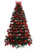 Bello albero di Natale su bianco Fotografia Stock Libera da Diritti