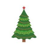 Bello albero di Natale verde elegante di ghirlanda colorata Multi Illustrazione di vettore su un fondo bianco Fotografia Stock