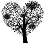 Bello albero nero con le foglie su fondo bianco royalty illustrazione gratis