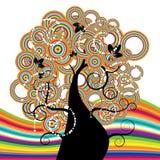 Bello albero, Rainbow Immagini Stock