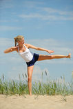 Bello allenamento femminile Fotografia Stock