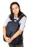 Bello allievo che abbraccia un sacchetto Immagini Stock Libere da Diritti
