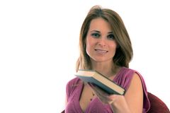 Bello allievo con i libri su backgr bianco Fotografia Stock