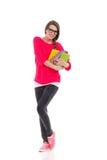 Bello allievo femminile con i libri Immagine Stock Libera da Diritti