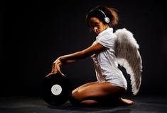 Bello angelo con vinile fotografia stock libera da diritti