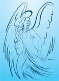 Bello angelo della donna in un vestito chiaro immagine stock