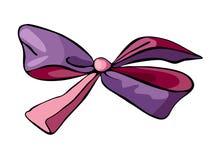 Bello arco di seta nei colori viola e rosa isolato su fondo bianco Elemento del regalo illustrazione vettoriale