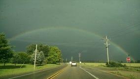 Bello arcobaleno sopra il Michigan fotografie stock libere da diritti