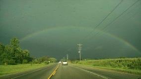 Bello arcobaleno sopra il Michigan immagine stock