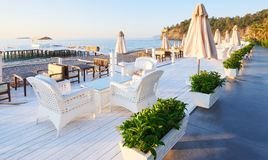 Bello argine per la camminata e lo sport in Amara Dolce Vita Luxury Hotel Alanya Turchia fotografia stock