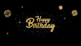 Bello aspetto dorato del testo di saluto di buon compleanno dalle particelle di lampeggiamento con il fondo dorato dei fuochi d'a illustrazione vettoriale