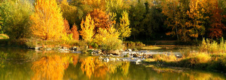 Bello Autumn Scene vicino al Arno a Firenze, Toscana, Italia Immagini Stock Libere da Diritti