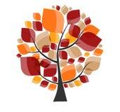 Bello Autumn Tree su un vettore bianco del fondo Immagini Stock Libere da Diritti