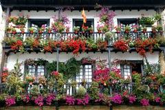 Bello balcone con i fiori Fotografia Stock
