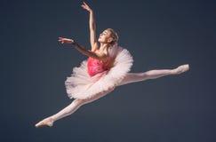 Bello ballerino di balletto femminile su un grey Fotografie Stock Libere da Diritti