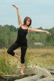 Bello ballerino femminile espressivo Posing Outdoors su una roccia Immagini Stock