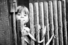 Bello bambino che si leva in piedi vicino alla rete fissa rurale Fotografie Stock Libere da Diritti