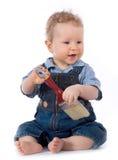 Bello bambino con il pennello fotografia stock