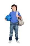 Bello bambino dell'allievo con lo zaino Fotografia Stock Libera da Diritti